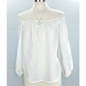 Anthropologie Leifsdottir White Embroidered Top M